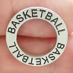 Affirmation Ring Basketball Charm in Antique Silver Pewter