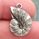 Nautilus Charm in Antique Silver Pewter