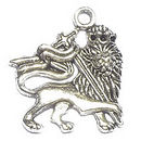 Lion Charm in Antique Silver Pewter with Crown and Sword
