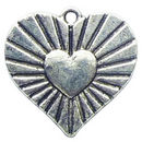Radiant Heart Charm in Antique Silver Pewter