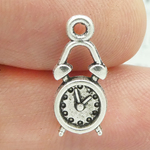 Alarm Clock Charm in Silver Pewter