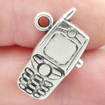 Cell Phone Pendant in Antique Silver Pewter