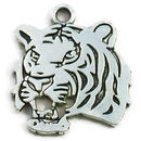 Tiger Charm Head in Antique Silver Pewter