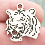 Tiger Head Charms Wholesale in Antique Silver Pewter
