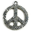 Peace Charm with Bark Finish in Silver Pewter