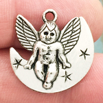 Angel Charm on Crescent Moon in Antique Silver Pewter