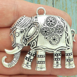 Large Silver Elephant Pendant Pewter with Beaded Accents