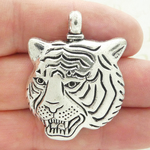 Tiger Head Pendant in Antique Silver Pewter