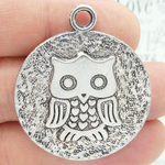 Owl Pendant Disk Large in Antique Silver Pewter