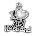 I Love My Husband Family Charm Antique Silver Pewter