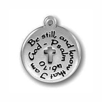 Be Still Christian Charm Antique Silver Pewter