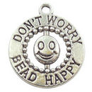 Don't Worry Be Happy Smile Charm in Antique Silver Pewter