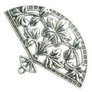 Flower Fan Pendant in Antique Silver Pewter Large