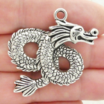 Silver Dragon Charms Wholesale in Antique Pewter Large