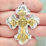Gold Ornate Cross Crucifix Pendant with Antique Silver Pewter