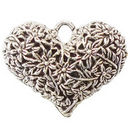 Flower Double Sided Heart Pendant with Antique Silver Pewter Large