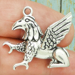 Griffin Charm Silver Pewter