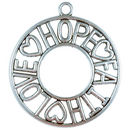 Faith Hope and Love Pendant with Antique Silver Pewter Large