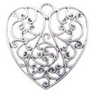 Filigree Heart Pendant with Antique Silver Pewter Large