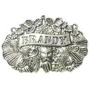 Brandy Liquor Decanter Label Bottle Tag in Antique Silver Pewter