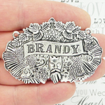 Brandy Decanter Label Silver Pewter