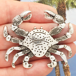 Large Crab Pendant in Antique Silver Pewter
