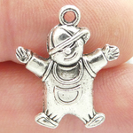 Little Boy Charm Pendant in Silver Pewter
