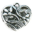 Double Sided Flower Heart Charm Pendant with Antique Silver Pewter Medium