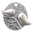 Bird Charm Disk in Antique Silver Pewter