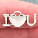 I Love You Charm Silver Pewter