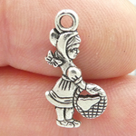 Little Girl Charm in Silver Pewter with Basket