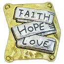 Faith Hope and Love Charm for Bead Stringing Bracelet Sliders in Pewter
