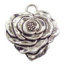 Rose Charm Medium Antique Silver Pewter Flower Charm
