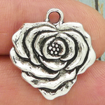 Silver Rose Flower Charm Pewter
