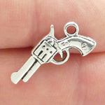 Gun Charms for Jewelry Making Antique Silver Pewter