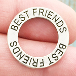Affirmation Ring Best Friends Charm in Antique Silver Pewter