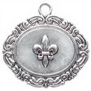Oval Edge Disk Fleur De Lis Charm in Antique Silver Pewter