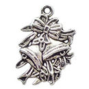 Christmas Bells Charm in Antique Silver Pewter with Ribbon