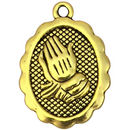 Gold Praying Hands Charm in Pewter