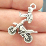 Silver Motocross Charm in Pewter