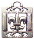 Square Fleur De Lis Charm in Antique Silver Pewter