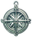 Compass Charm in Antique Silver Pewter