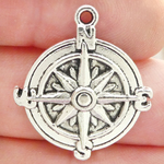 Compass Charms Bulk in Antique Silver Pewter