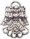 Filigree Angel Charm in Antique Silver Pewter Small