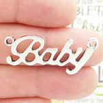 Baby Charms for Jewelry Making in Antique Silver Pewter