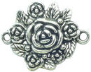 Rose Connector Medium Antique Silver Pewter Flower Charm