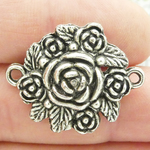 Silver Rose Connector Antique Pewter