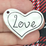 Hammered Love Heart Charm Pendant with Silver Pewter Medium