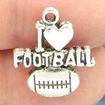I Love Football Charms Wholesale in Antique Silver Pewter