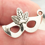 Mardi Gras Mask Charm in Antique Silver Pewter with Feather Accents